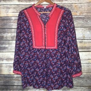 Boho floral peasant prairie hippy top plus 22/24